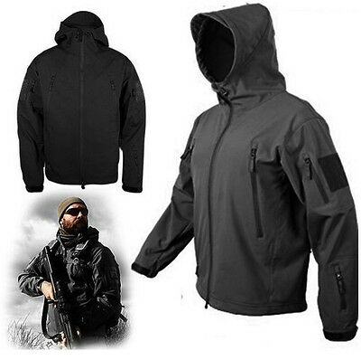 Sport Black Foliage Gunfighter Combat Jacket Soft Shell Sharkskin Tech Coats