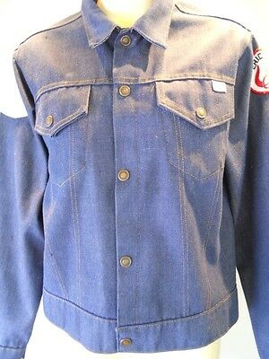 Vintage 60s 70s Blue Jeans Coat Jacket Nautical Viking Patches Pennys Sport Boys