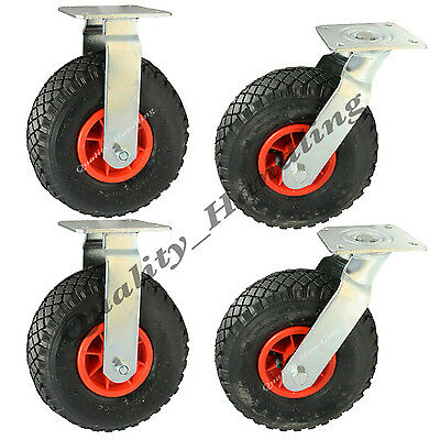 """4 - 10"""" inch 260mm pneumatic castors 2 swivel & 2 fixed (300x4) inflated pumped"""