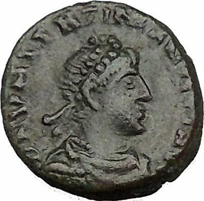 Valentinian II 388AD Ancient Roman Coin Victory Chi-Rho Christ monogram  i35657