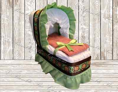 Green and Brown Monkey Print Diaper Bassinet Centerpiece/Baby Shower Gift