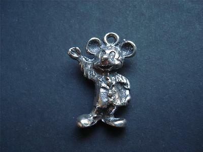 Vintage STERLING SILVER Walt Disney MICKEY MOUSE Waving Charm 3D Pendant OLD