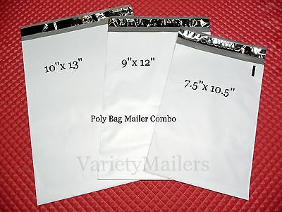 24 Poly Envelope Bag Variety 10x13 9x12 7.5x10.5 Self-Sealing Shipping Mailers