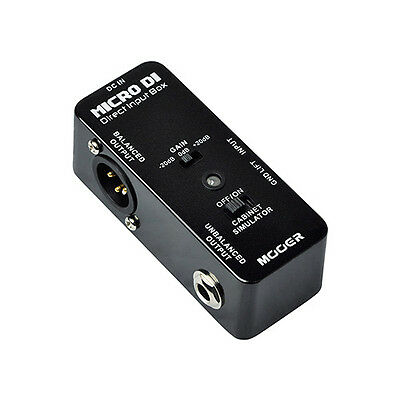 Mooer Audio Micro DI Pedal with Speaker Simulation for Guitar or Bass - New!