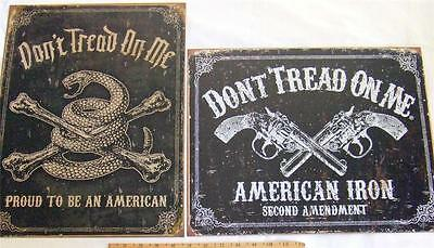 Dont Tread On Me Tin Sign LOT OF 2 Second Amendment Gun Rights Wall Decor USA