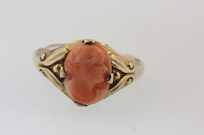 ELEGANT ANTIQUE VICTORIAN PINK CORAL CARVED SHELL CAMEO RING 10k GOLD SZ 6.25