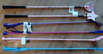 Horse Riding Crop Whip Childs Kids Choose Sparkle, Glitter Heart / Star or Plain