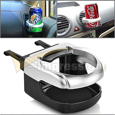Black Sliver Clip-on Car SUV A/C Mount Cup Holder Drink Water Coffee Bottle Can