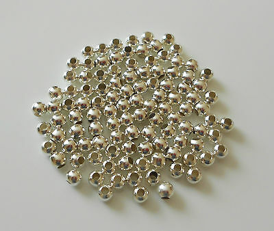 SMOOTH SILVER PLATED ROUND BALL SPACER BEADS CHOICE OF 2.4mm 3mm 4mm 5mm 6mm 8mm