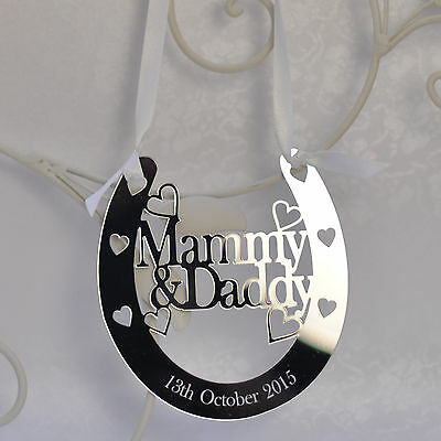 Personalised Mammy and Daddy Good Luck Horseshoe Bridal Wedding Anniversary Gift