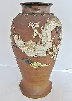 "10.5"" Sumida Gawa Style Antique Japanese Art Pottery Vase w/ High Relief DRAGON"