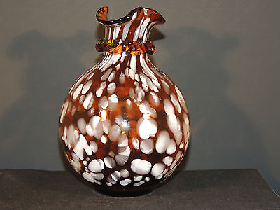 Spatter Glass Brown n White Vase over 5 inches high  (4074)