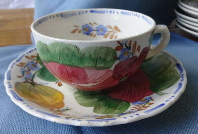 Fondeville Solian Ware Belle Fiore Floral Teacup & Saucer Set Red Blue Flowers