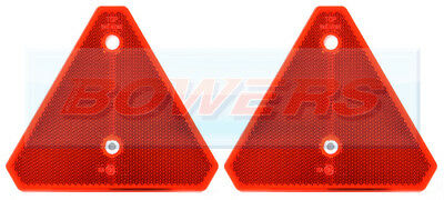 2x SCREW ON RED REFLECTIVE TRIANGLE REFLECTORS FOR IFOR WILLIAMS TRAILER CARAVAN