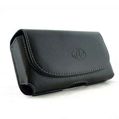 Black Leather Sideways Horizontal Belt Clip Case Pouch Cover for LG Cell Phones