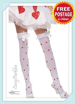 Opaque Knee High Stockings w/ Bows Black White Queen of Heart Costume Stockings