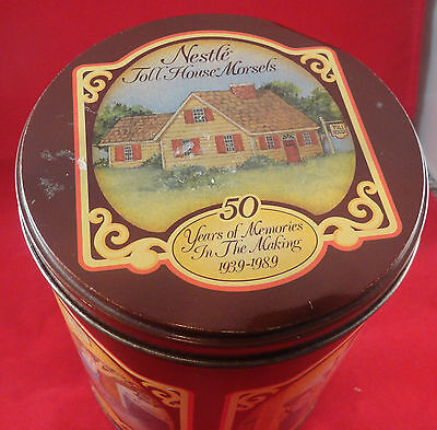 """Nestle Toll House Morsels 50 Years of Memories 1939-1989 Tin 6 1/4"""" Tall"""