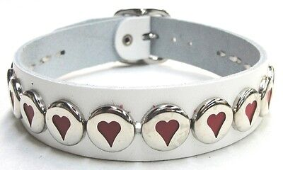 White Genuine Leather Choker with Hearts and Adjustable Buckle Made in the USA