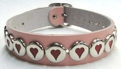 Pink Genuine Leather Choker with Hearts and Adjustable Buckle Made in the USA