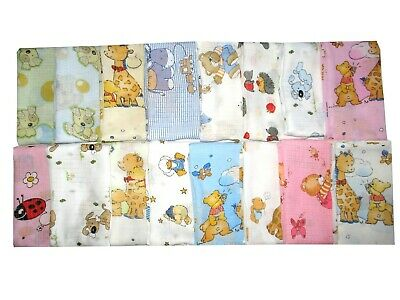 LARGE PRINTED MUSLIN SQUARE 70x80 cm  BABY REUSABLE NAPPY/WIPES/BIBS 100% COTTON