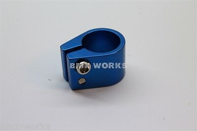 BMX Works Blue Double Seat Clamp 25.4mm suit 22.2mm Post Suit Old School BMX