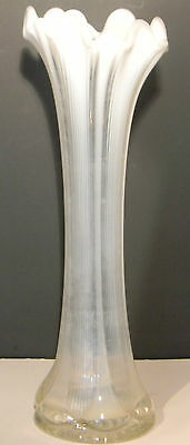 Vintage White Ribbed Vase 12 inches tall (1464)
