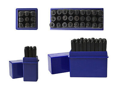 """3/32"""" 2.5 MM Capital Letter Punch Stamp Set Metal-Steel-Gold-Silver 36 Piece A-Z"""