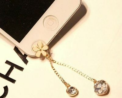 3D Cute Camellia Bling Diamond Home Button Sticker For iPhone 5,5c,5s,6,6+,iPad