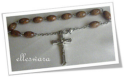 Dark Brown Oval Wooden Beads Silver Tone Crucifix Wood Rosary Bracelet