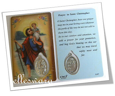 WALLET Size ST CHRISTOPHER Laminated PRAYER Card +Medal SAINT of TRAVELLERS