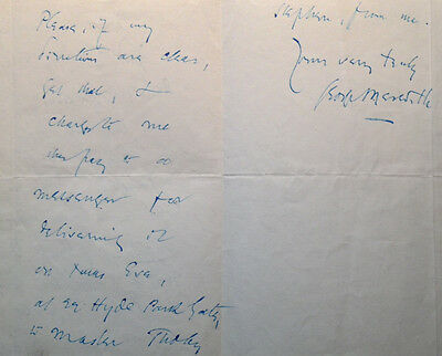 Autograph letter from novelist GEORGE MEREDITH re: VIRGINIA WOOLF'S brother