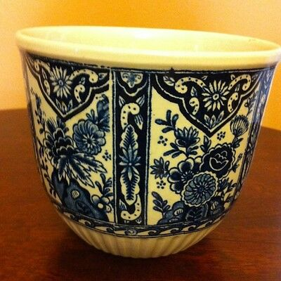Vintage Colbat Blue And White Vase Planter By Boch  Delft