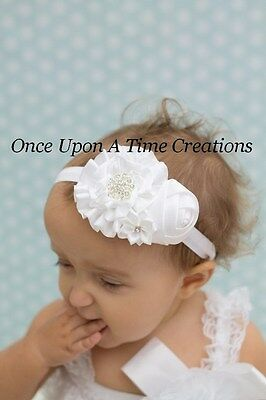 White Satin Flower Headband Baby Hair Bow Christmas Hairbow Baptism Christening