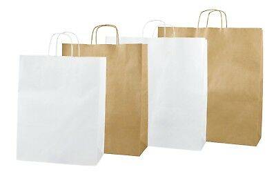 White / Brown Kraft Twisted Handle Paper Carrier Bags