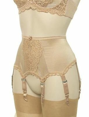 Designer Lace Front Suspender Belt with 6 Suspender Straps in Ivory, Black, Gold