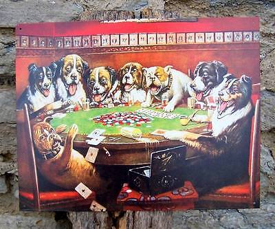 Drunk Dogs Playing Cards Retro Tin Sign Poker Game Room Wall Decor Man Gift USA