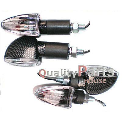 4x Spear Carbon Bulb Indicators Front & Rear Motorbike Motorcycle (Clear Lens)