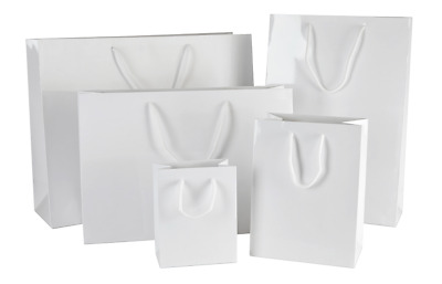 Luxury White Gloss Paper Bags With Rope Handles- Christmas & Birthday Gift Bags