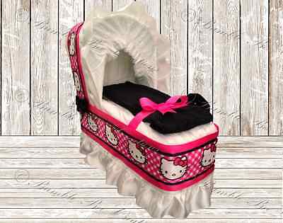 Hello Kitty Hot Pink & Black Diaper Bassinet Centerpiece / Baby Shower Gift