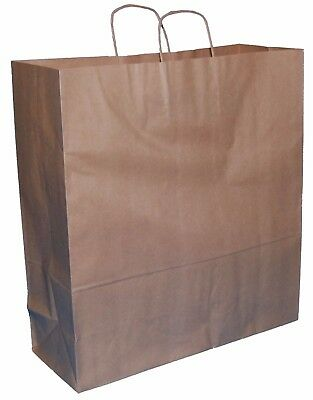 """20 X LARGE BROWN KRAFT PAPER TWISTED HANDLE CARRIER GIFT BAGS 15""""x5.5""""x16.25"""""""