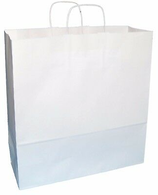 """20 EXTRA LARGE WHITE KRAFT PAPER TWISTED HANDLE CARRIER BAGS 15""""x5.5""""x16.25"""""""