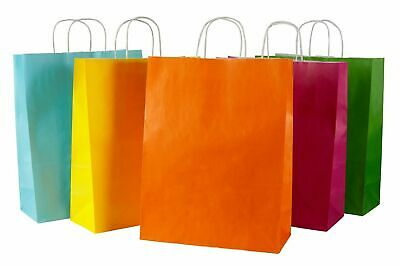 20 Coloured Twisted Handle Kraft Paper Carrier Bags