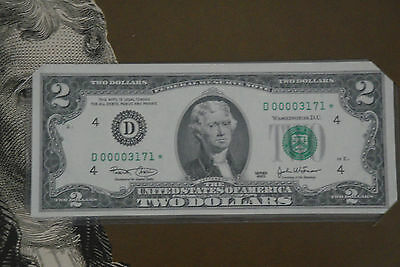 $2 Single Star Notes 2003 Low Serial numbers Mint packaging collector currency