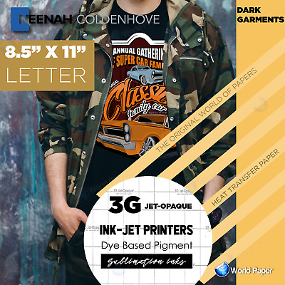 3G Jet Opaque Neenah Inkjet Heat Transfer Paper 8.5x11 50 sheets World Paper