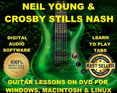 NEIL YOUNG GUITAR TABS Lesson CD 754 TABS 22 BTs + BONUS Crosby Stills &  Nash!!!
