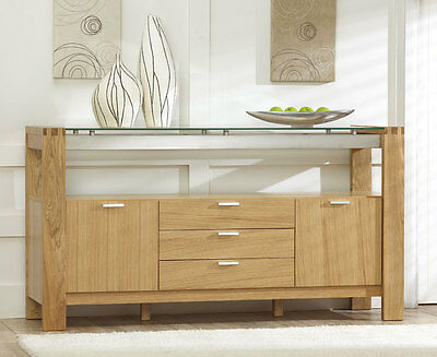 Vegas solid oak and glass dining room furniture 3 drawer sideboard unit cabinet