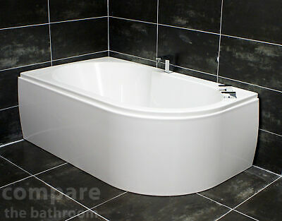 Offset corner bath space saver 1400 x 900mm incl panel for Small baths 1400