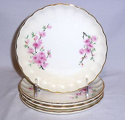 "W S George Four Bread & Butter Plates Peach Blossom (6 1/2"" Diameter)"