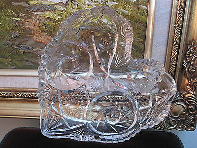 Early Pattern Glass ~ Crystal Heart Dish ~ EAPG signed