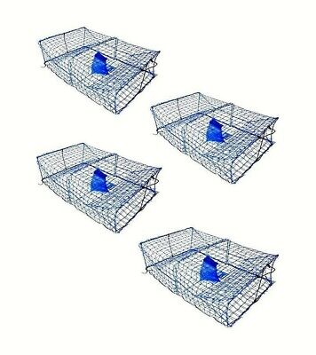 4 X Wilson Heavy Duty Rectangular Crab Traps - 2 Entry Crab Pots  - Blue Mesh
